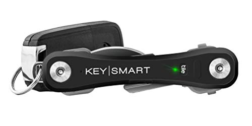 KeySmart Pro - Key Holder w LED Light & Tile Smart Technology (up to 10 Keys) (Black)