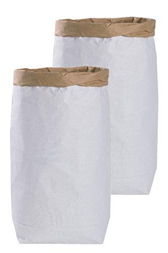 Lifestyle Lover 2X DIY Papiersack Paperbag rund aus Kraftpapier Braun Weiß 'Blanko'