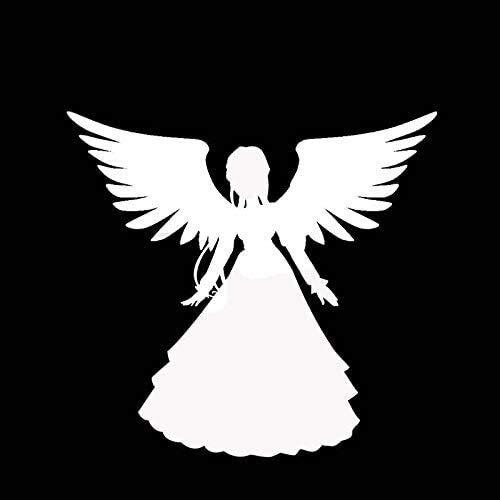CANGZHOUXIYU Pegatinas para coche, 13,7 x 12,8 cm, diseño de ángel es una princesa encantadora, adhesivo para coche, color negro y plateado (nombre del color: negro) (tamaño: plata)