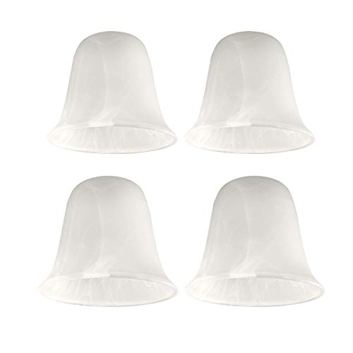 Giluta Bell Shaped Glass Shade, Alabaster Glass Shades Replacement for ceiling fan light wall light and pendant, Lipless with 1-5/8-inch Fitter Opening, 4 Pack