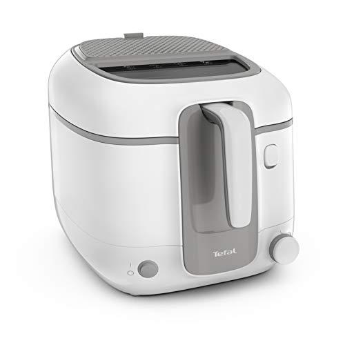 Tefal Freidora Super Uno Access FR3100, capacidad de 2,2 L, piezas aptas para lavavajillas, filtro de olores, recipiente extraíble, color blanco/gris