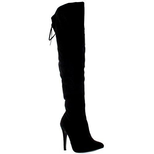stivali sopra ginocchio pelle Donna Stiletto Coscia Alta Piattaforma Arco Serata Tacchi Alti Stivali - Nero Camoscio - UK5/EU38 - KL0037H