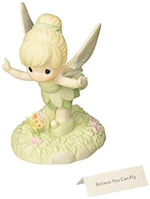 Precious Moments 172056 Believe You Can Fly Bisque Porcelain Figurine Disney Showcase Peter Pan's Tinker Bell, One Size, Multi