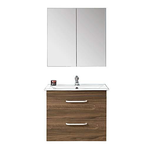 Aica Sanitär Badezimmer Badmöbel Milan 02 Waschtisch mit Unterschrank Spiegelschrank - Waschbecken Waschplatz Spiegelschrank Möbel Walnuss