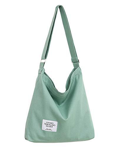 Covelin Women's Retro Large Size Canvas Shoulder Bag Hobo Crossbody Handbag Casual Tote Dark Sea Green