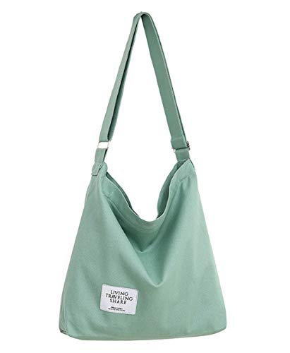 Covelin Women's Retro Large Size Canvas Shoulder Bag Hobo Crossbody Handbag Casual Tote Dark Sea Green