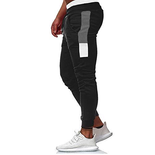 Pantalones Largos para Hombre Pantalón Ajustado de Cargo con Cintura Elástica de Cordón y Bolsillos Leggings Deportivos Pants Delgado de Color Sólido Informal para Deportes (Negro, XL)