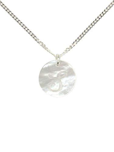 Ciondolo in madreperla con lettera e iniziale, collana realizzata in Germania, argento e Argento, colore: s, cod. 1