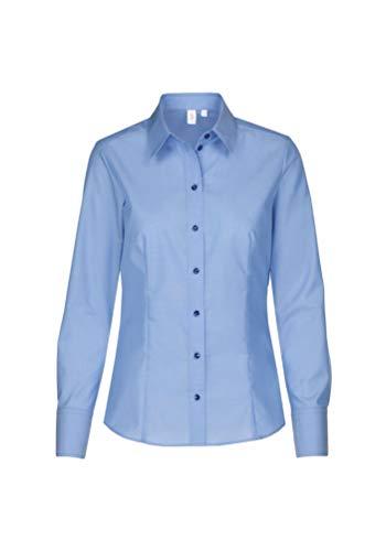 Seidensticker Damen Regular Fit Bluse Hemdbluse Langarm Regular Fit Uni Bügelfrei, Blau (Mittelblau 14), 46 (Herstellergröße: 46)