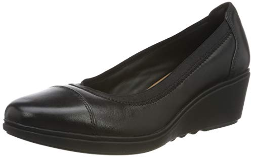 Clarks Damen Un Tallara Liz Slipper, Schwarz (Black Leather Black Leather), 38 EU