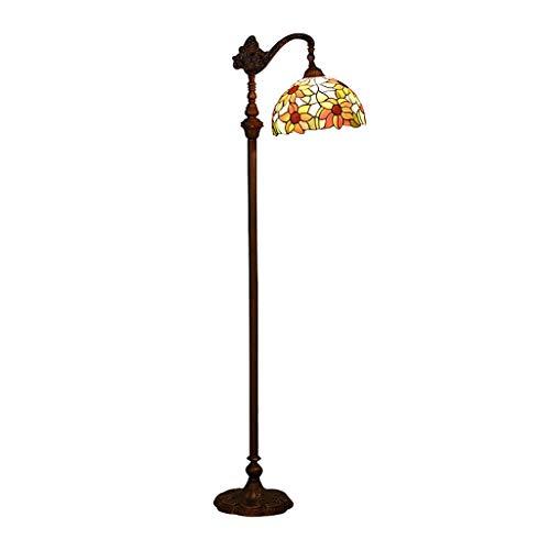 Lámpara de Pie Lámpara de pie tradicional, lámpara de pie clásica con colorido sombra de vidrio manchado marrón rojo marrón antigüedad vintage luz lámpara de lectura (Color : Multi-colored)