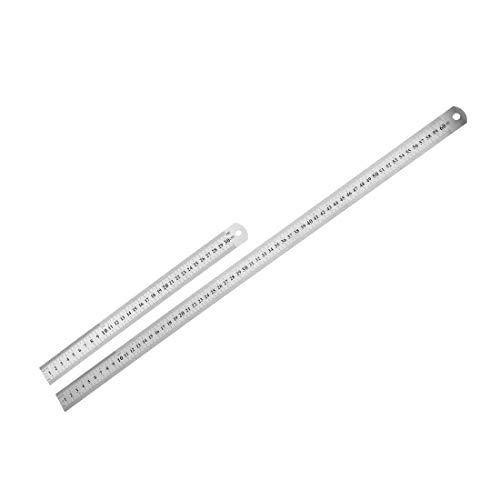 Regla recta 30 cm, 60 cm, 24 pulgadas, herramienta de medición de acero inoxidable métrico con agujero de suspensión 2 en 1