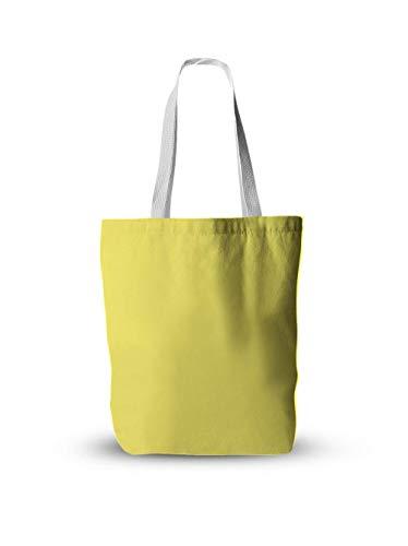 Lona Bolso De Mano,Bolso De Hombro Vintage Simple Color Sólido Amarillo Reutilizable Diseño Estético Bolso Mujeres Niñas Estudiantes