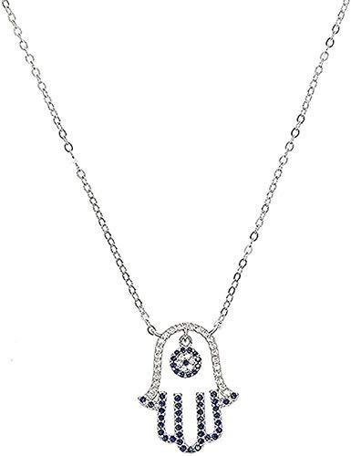 LBBYMX Co.,ltd Collar de Plata 925 para Mujer, joyería de Boda, Regalo, Azul, Blanco, Mano, Fátima, Colgante de Palma turca, Collares, Collar de Regalo