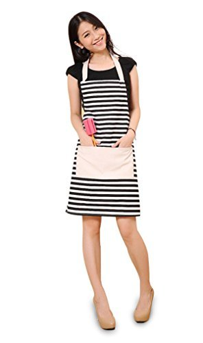 FirstKitchen Cotton Canvas Women's Apron with Convenient Pocket Durable Stripe Kitchen and Cooking Apron for Women Professional Stripe Chef Apron for Cooking,Grill and Baking(Black)