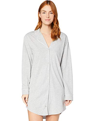 Iris & Lilly Damen Langärmeliges Nachthemd aus Baumwolle, Grau (Grey Marll), XS, Label: XS