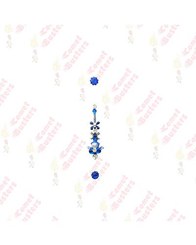 Comet Busters Designer Long Stone Blue Red Bindi (BIN152)