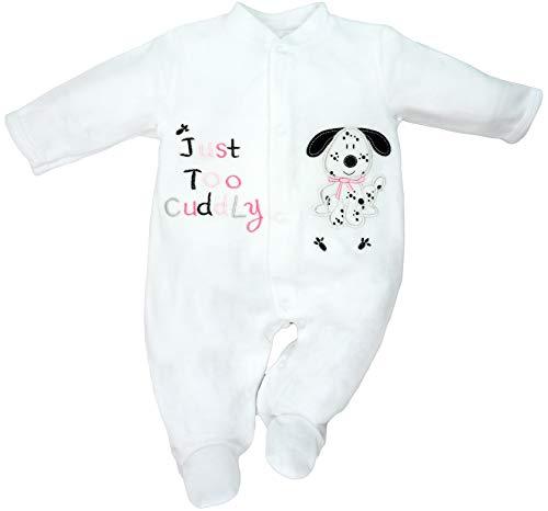 Just Too Cute - Baby Mädchen Strampler Schlafanzug aus Nicki Dalmatiner Gr. 62/68 (3/6M)