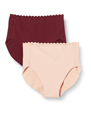 Dim Culotte Haute Body Touch Coton X2 Ropa Interior, Chocolate Prof/Piel Rosada, Medium para Mujer