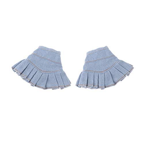 Perfeclan 2 Stück Puppe Sommerkleidung Rock Denim Minirock Jeansrock Outfits für 12 Zoll Mädchen Puppen