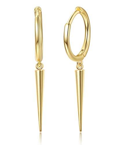 Milacolato 925 Sterling Silver Minimalist Spike Dangle Hoop Earrings for Women 18K Gold Plated Drop Pendant Charms Hoops Punk Jewelry