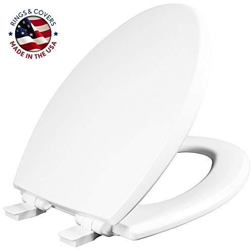 MAYFAIR 1847SLOW 000 Kendall Slow-Close, Removable Enameled Wood Toilet Seat that will Never Loosen, ELONGATED, White