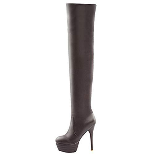 Chicmark Damen über Kniehohe Stiefel mit Absatz (Braun, 44 EU)