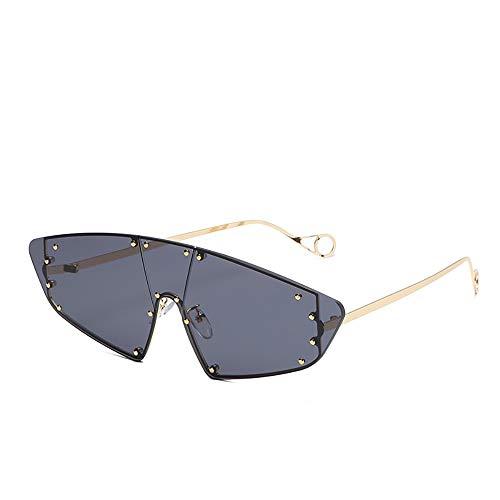 NXMRN Sonnenbrille Vintage Cat Eye Randlose Sonnenbrille Frauen Sonnenbrille Männer Shades Punk Niet Einem Stück Rihanna Brillen-Gold