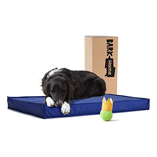 BarkBox Outdoor All Weather Dog/Cat Bed, Waterproof, Removable Cover, Cooling Foam Layer & Memory Foam for Orthopedic Joint Relief,All Season Camping Crate Pet Mattress for Small/Medium/Large Pets