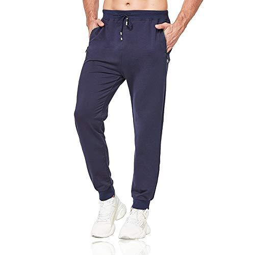 Tansozer Jogginghose Herren Baumwolle Sporthose Männer Lang Trainingshose mit Reißverschluss Taschen Blau L