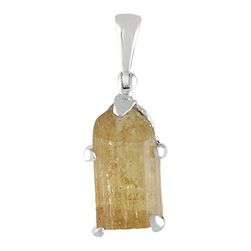 Pendente in cristallo naturale topazio imperiale in argento sterling 925 forgiato a mano