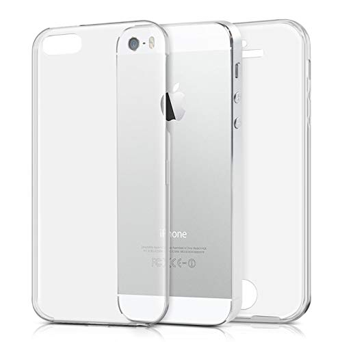 TBOC Funda para Apple iPhone 5 (4.0 Pulgadas) - Carcasa [Transparente] Completa [Silicona TPU] Doble Cara [360 Grados] Protección Integral Total Delantera Trasera Lateral Móvil Resistente Golpes