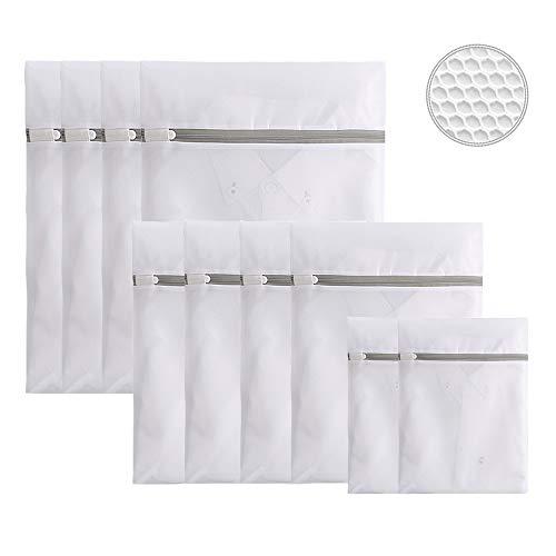 Remifa Wäschenetze 10er Wäschebeutel Wäschesack Set für Waschmaschine Haltbarer Netz-Wäschebeutel mit Reißverschluss für empfindliches, Bluse, Strumpfwaren, BH, Unterwäsche, Socken (Rundes Netz)