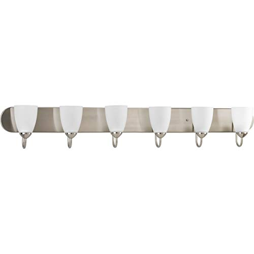 Gather Collection Brushed Nickel Six-Light Transitional Bath Vanity Light