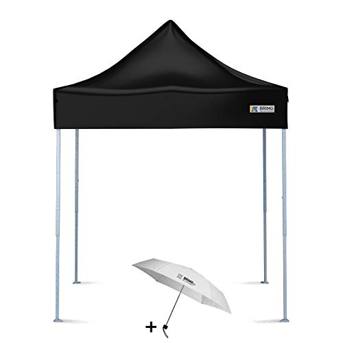 BRIMO Faltpavillon + Freier Regenschirm (2x2m, Schwarz)