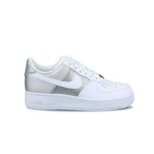 Nike Wmns Air Force 1 '07, Zapatillas de bsquetbol Mujer, White White Mtlc Silver, 38 EU