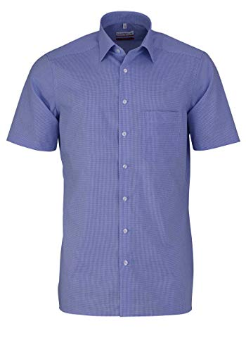 Marvelis Hemd, Halbarm, Modern Fit, Blau Weiß Vichykaro, Bügelfrei, New Kent Kragen, 100% Baumwolle, Hellblau, 42