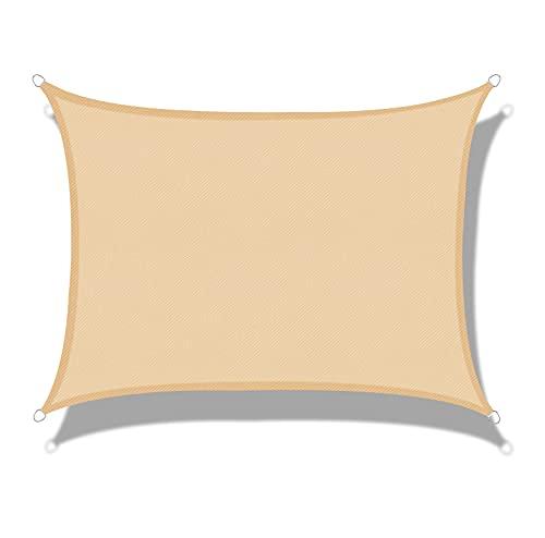 LOVE STORY Tenda da Vela Parasole Impermeabile(PES) Rettangolare 4×4m Sabbia Protezione UV per Terrazza Campeggio Giardino Esterno