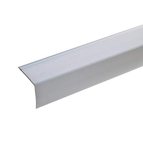 acerto - 51033 Aluminium Treppenwinkel-Profil - 100cm, 42x50mm, silber I Rutschhemmend I Robust I Leichte Montage I Treppenkanten-Profil, Treppenstufen-Profil aus Alu I Treppenprofil Treppenkantenschutz