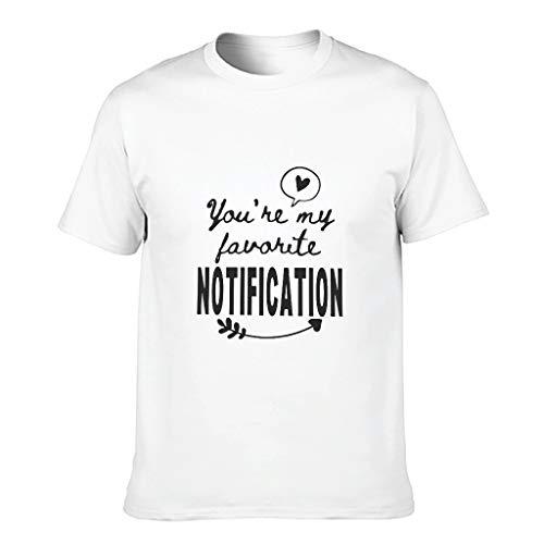 Camiseta de algodón para hombre con texto en alemán 'Du bist Meine Lieblingsnotifiung Cool Divertida y duradera - Camisa impresa blanco L