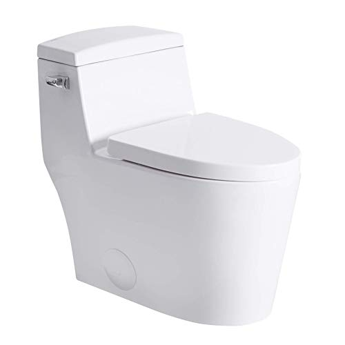 One Piece Toilet - Sarlai Elongated 1 Piece Toilet Comfort Height Single Flush White Ceramic Bathroom One Piece Toilet with Soft Seat, Concealed Trapway, 12' Rough-In, Wax Ring Included