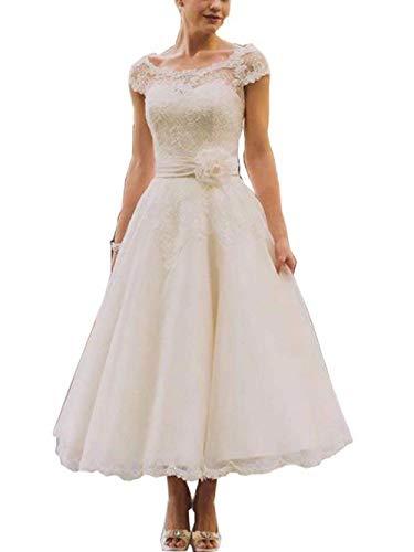 Brautkleid Hochzeitskleider Damen Lang Brautmode Spitze Tüll Kurzarm A Linie Elfenbein EUR50