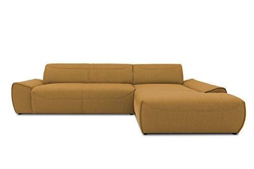 DOMO collection Frenzy Ecksofa, moderne L-Form Eckcouch, Couch in Webstoff, gelb, 306x195x77 cm
