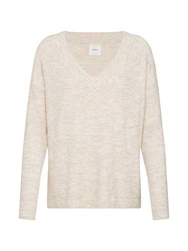 ONLY Damen ONLMIRNA L/S V-Neck KNT Pullover, Grau (Pumice Stone Pumice Stone), 40 (Herstellergröße: L)