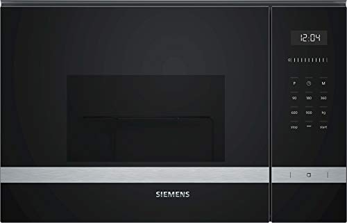 Siemens BE555LMS0 iQ500 - Microondas integrable, 38 cm, 25 L, 900 W, Grill 1200 W, Color negro y acero inoxidable