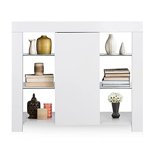 Ejoyous Aparador de salón Blanco, Mueble de salón tocador con iluminación LED, Mueble Alto, aparador con cajones y tabiques, para dormitorios de Oficina 97,5 x 35 x 83,5cm(Blanco)
