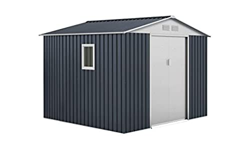 GARDIUN KIS12133 - Caseta Metálica Derby 7.06 m² Exterior 255 x 277 x 212 cm Acero Galvanizado Gris Antracita