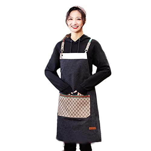 LOFAMI Hogar y Cocina Delantales Fashion Impermeable Delantal, Lienzo Delantal, Moda Restaurante Western Food Cafe Ropa de Trabajo Delantales (Color : Black)
