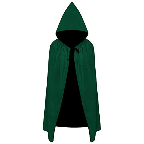 Dlala Kids Velvet Cloak Cape with Hooded for Halloween Christmas Cosplay Costumes ages3 to 16 (M(5-7years), Green)
