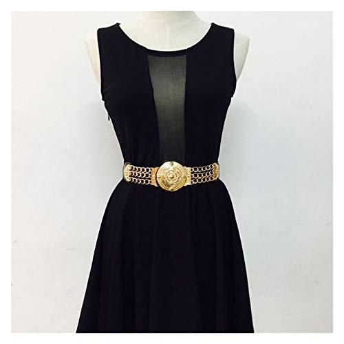 Without logo SFQRYP Courroie à chaîne en Or Courroies élastiques pour Femmes Grandes Fleur en métal Stretch doré (Belt Length : 63 x 3.5 cm, Color : Gold Chain Belt)